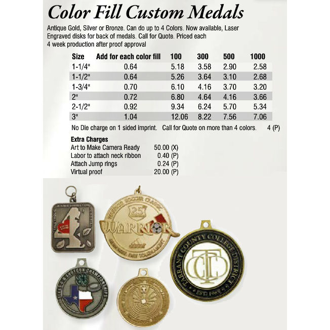 Color Fill Custom Medals - Promotional Items & More